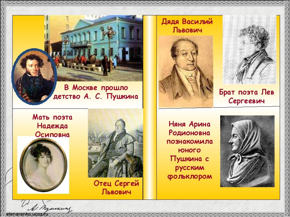 В Москве прошло детство А. С. Пушкина Мать поэта Надежда Осиповна Отец Серге...