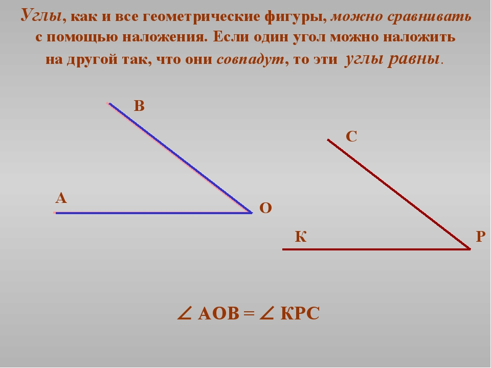 Углы, как и все геометрические фигуры, можно сравнивать с помощью наложения....