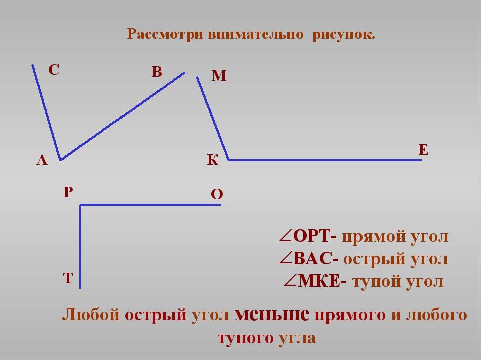 Рассмотри внимательно рисунок. ОРТ- прямой угол ВАС- острый угол МКЕ- тупой у...