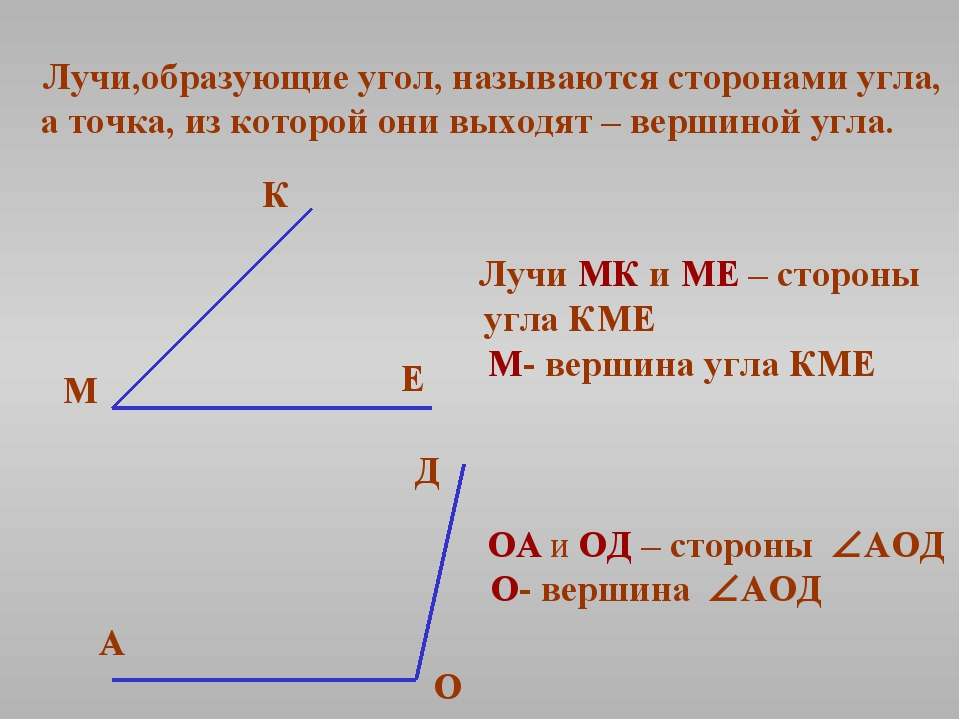 Лучи,образующие угол, называются сторонами угла, а точка, из которой они выхо...