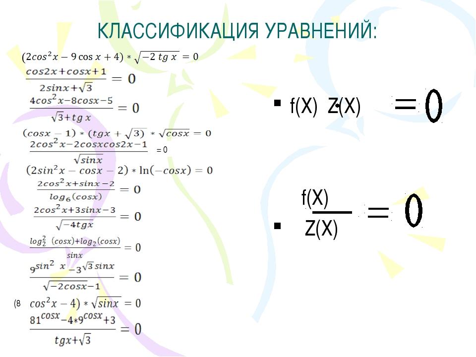 КЛАССИФИКАЦИЯ УРАВНЕНИЙ: f(Х) Z(Х) f(Х) Z(Х) ( = 0 (8