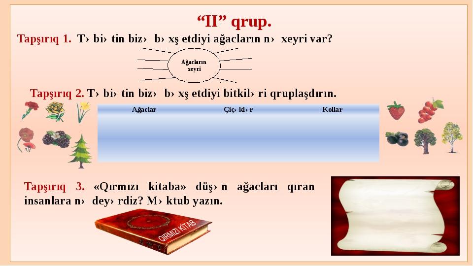 """""""II"""" qrup. Tapşırıq 1. Təbiətin bizə bəxş etdiyi ağacların nə xeyri var? Tap..."""