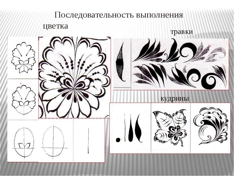 травки Последовательность выполнения цветка кудрины