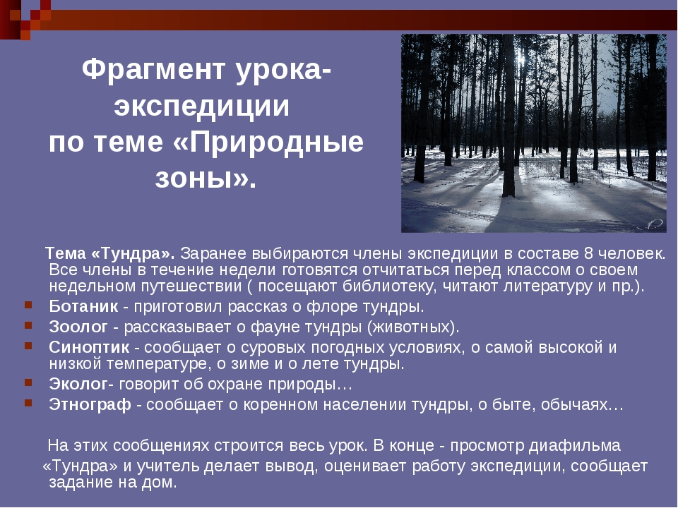 Фрагмент урока- экспедиции по теме «Природные зоны». Тема «Тундра». Заранее в...