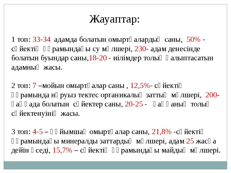 Жауаптар: 1 топ: 33-34 адамда болатын омыртқалардың саны, 50% - сүйектің құр...
