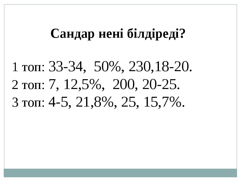 Сандар нені білдіреді? 1 топ: 33-34, 50%, 230,18-20. 2 топ: 7, 12,5%, 200, 20...