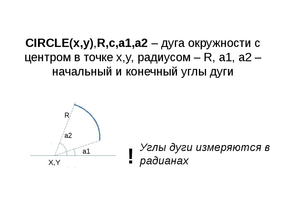 CIRCLE(x,y),R,c,a1,a2 – дуга окружности с центром в точке x,y, радиусом – R,...