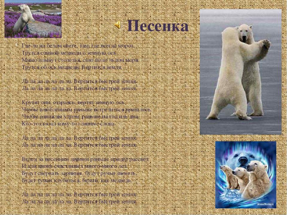 Песенка Где-то на белом свете, там, где всегда мороз. Трутся спиной медведи о...