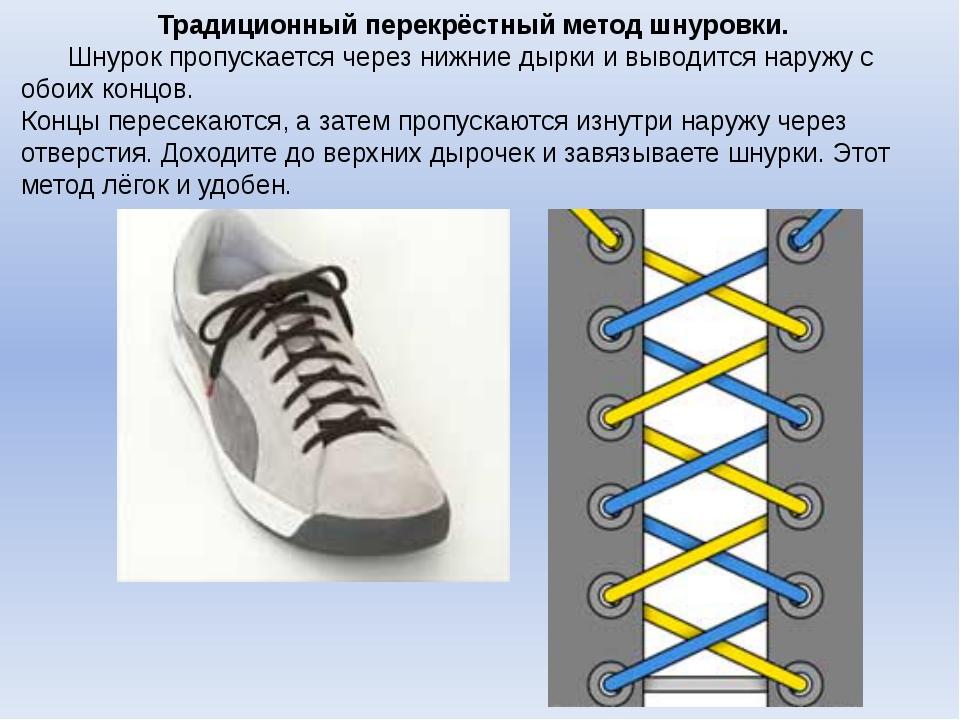 Традиционный перекрёстный метод шнуровки. Шнурок пропускается через нижние д...