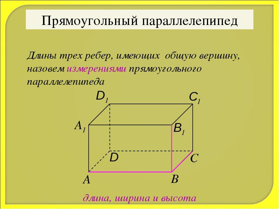 Прямоугольный параллелепипед Длины трех ребер, имеющих общую вершину, назовем...