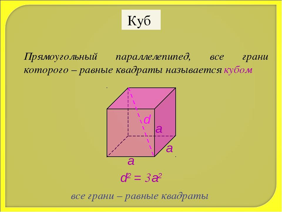 Куб Прямоугольный параллелепипед, все грани которого – равные квадраты называ...