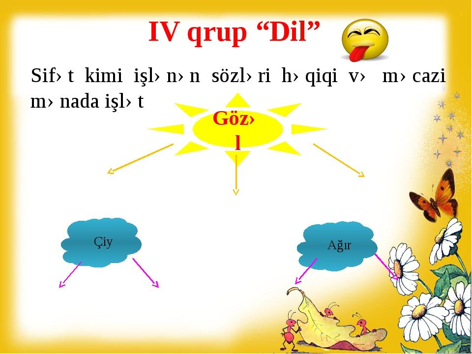 """IV qrup """"Dil"""" Sifət kimi işlənən sözləri həqiqi və məcazi mənada işlət Mehrib..."""
