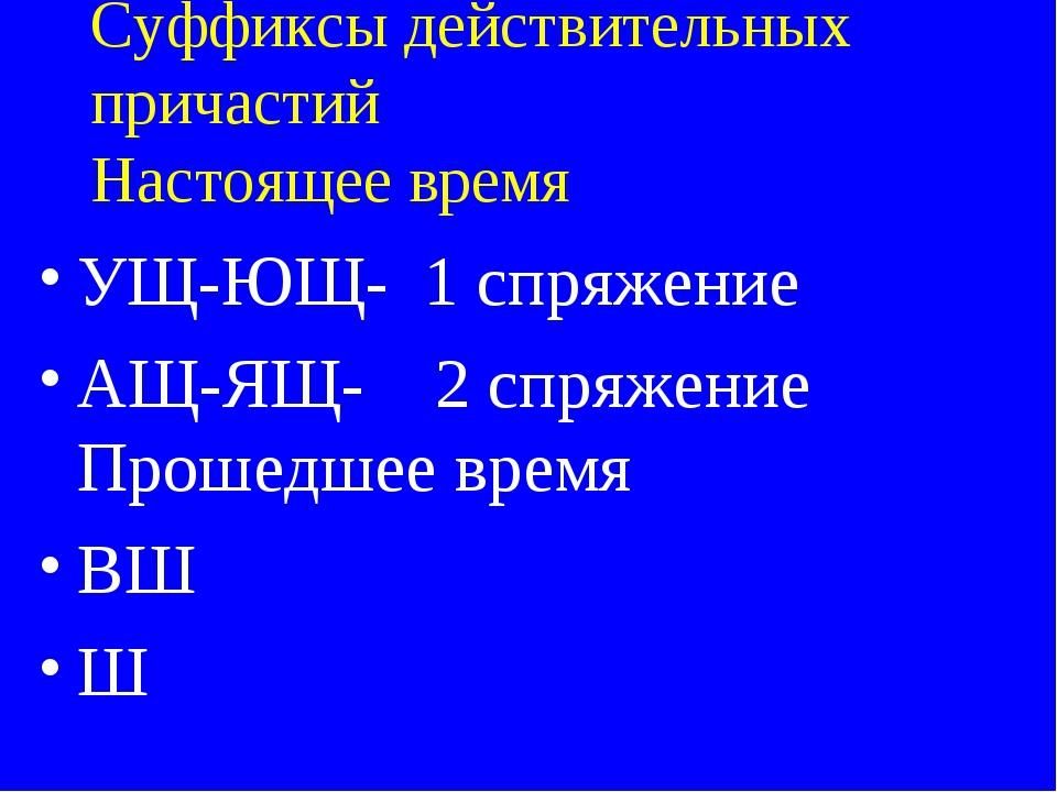 Суффиксы действительных причастий Настоящее время УЩ-ЮЩ- 1 спряжение АЩ-ЯЩ- 2...