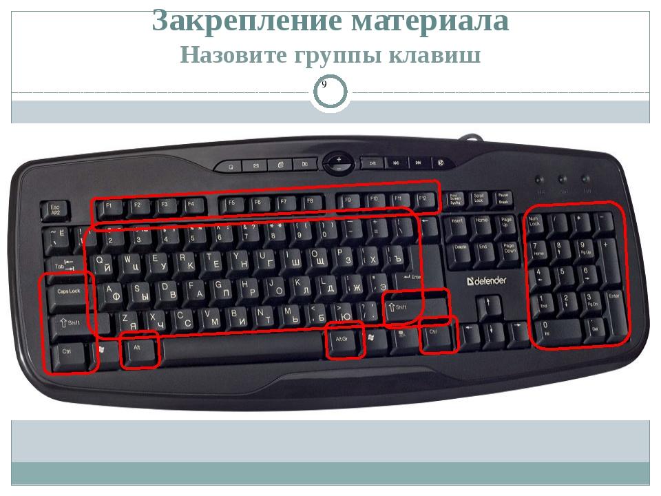 Закрепление материала Назовите группы клавиш