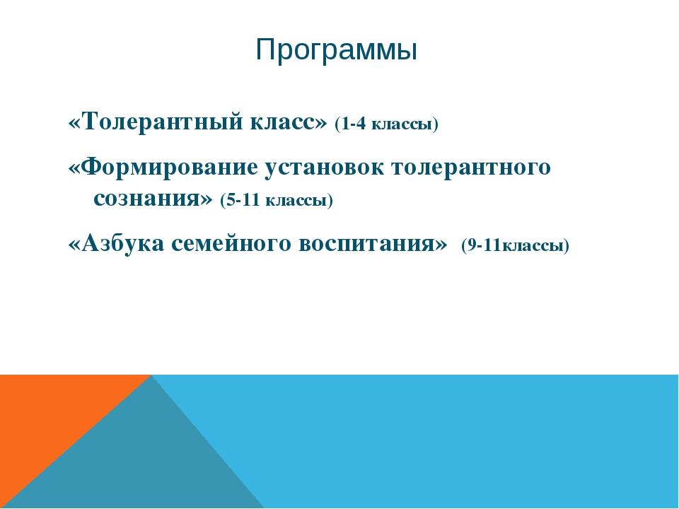 Программы «Толерантный класс» (1-4 классы) «Формирование установок толерантно...