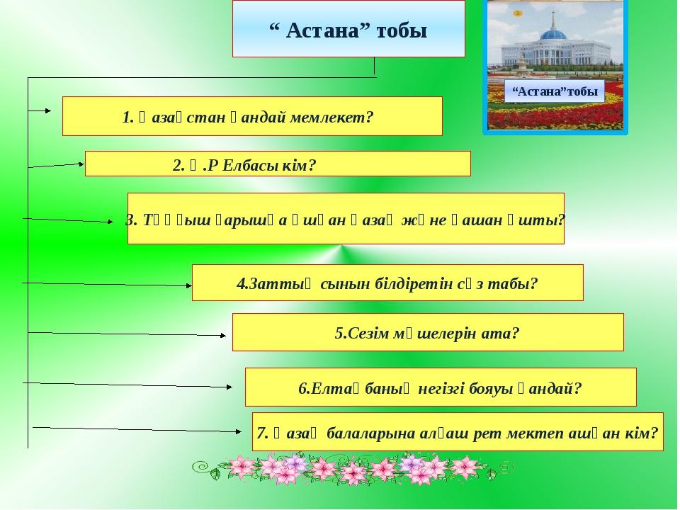 """"""" Астана"""" тобы 3. Тұңғыш ғарышқа ұшқан қазақ және қашан ұшты? 5.Сезім мүшеле..."""