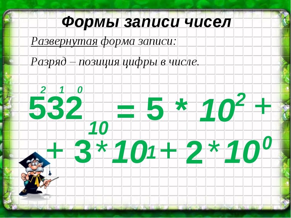Формы записи чисел 10 * Развернутая форма записи: * Разряд – позиция цифры в...