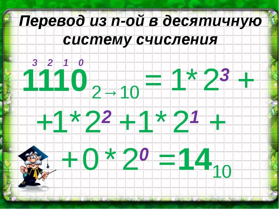 Перевод из n-ой в десятичную систему счисления 1 0 2 3 + = + 1 1 0 2→10 1 * 2...