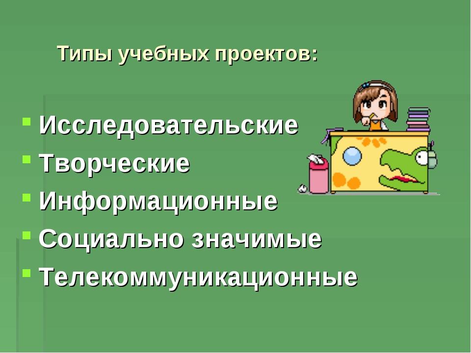 Типы учебных проектов: Исследовательские Творческие Информационные Социально...