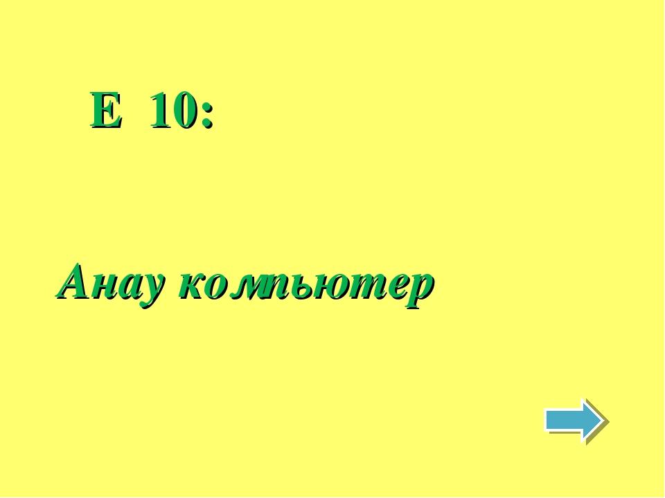E 10: Анау компьютер
