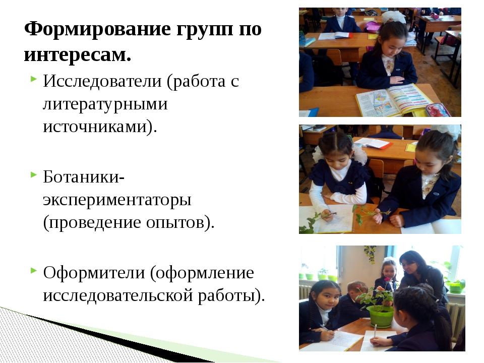 Формирование групп по интересам. Исследователи (работа с литературными источн...