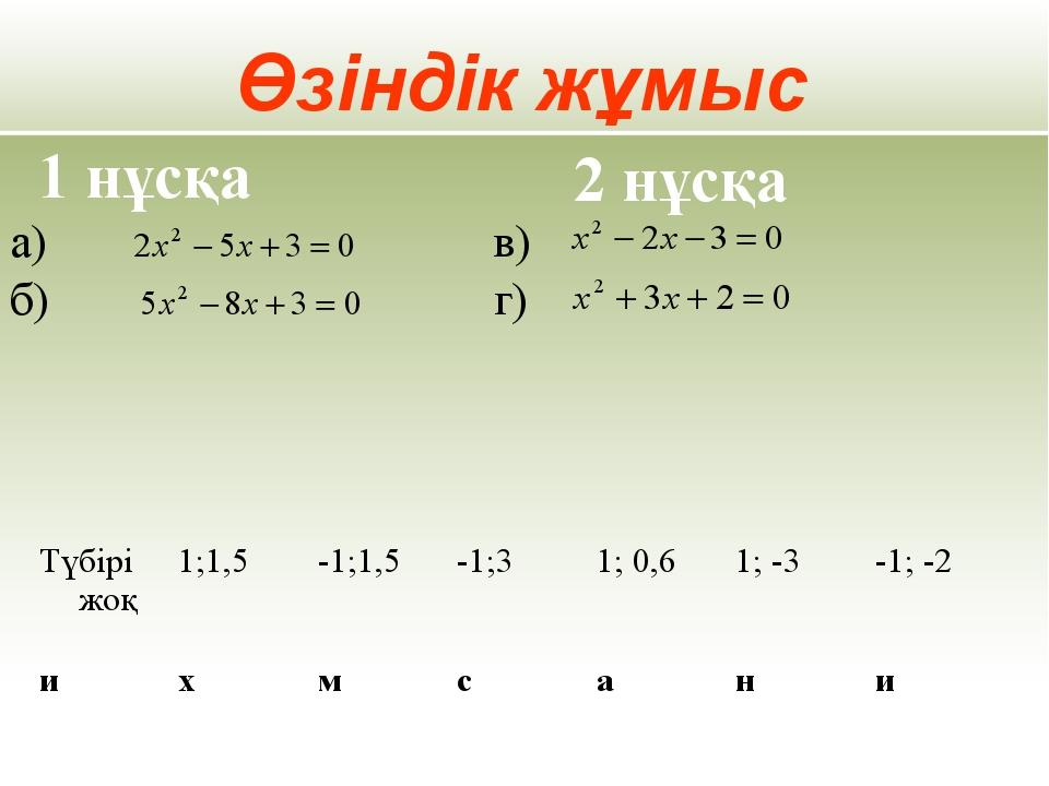 Өзіндік жұмыс а) б) 1 нұсқа 2 нұсқа в) г)