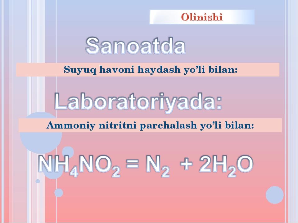 Suyuq havoni haydash yo'li bilan: Ammoniy nitritni parchalash yo'li bilan: