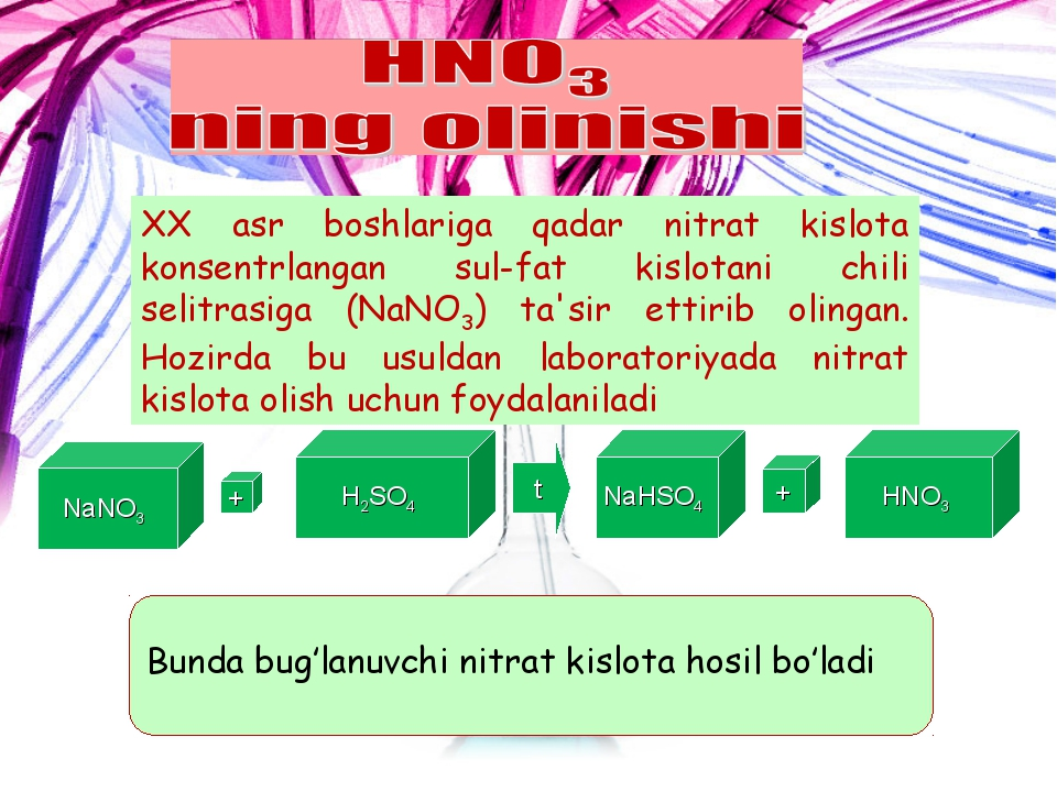 NaNO3 + H2SO4 t NaHSO4 + HNO3 Bunda bug'lanuvchi nitrat kislota hosil bo'ladi...