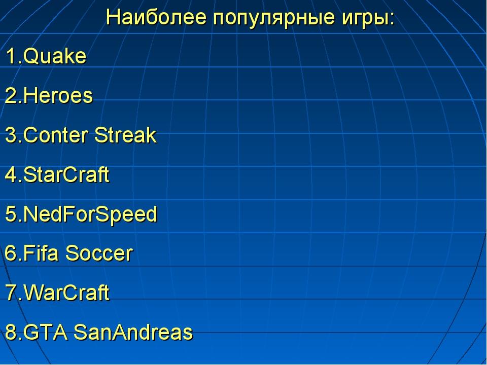 Наиболее популярные игры: 1.Quake 2.Heroes 3.Conter Streak 4.StarCraft 5.NedF...