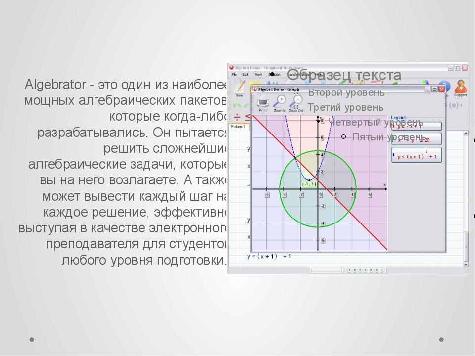 Algebrator - это один из наиболее мощных алгебраических пакетов, которые ког...