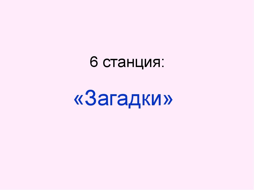 6 станция: «Загадки»