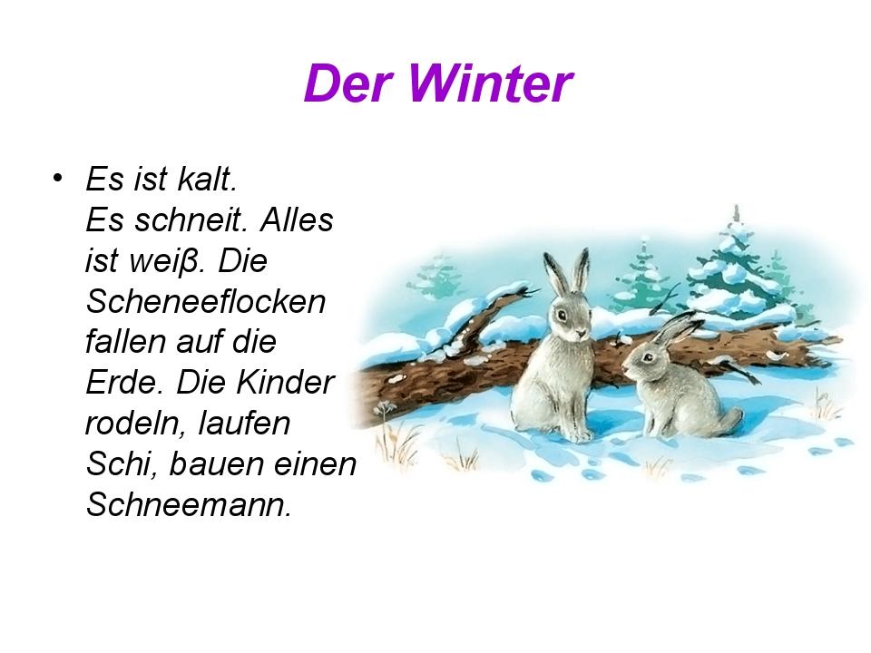 Der Winter Es ist kalt. Es schneit. Alles ist weiβ. Die Scheneeflocken fallen...