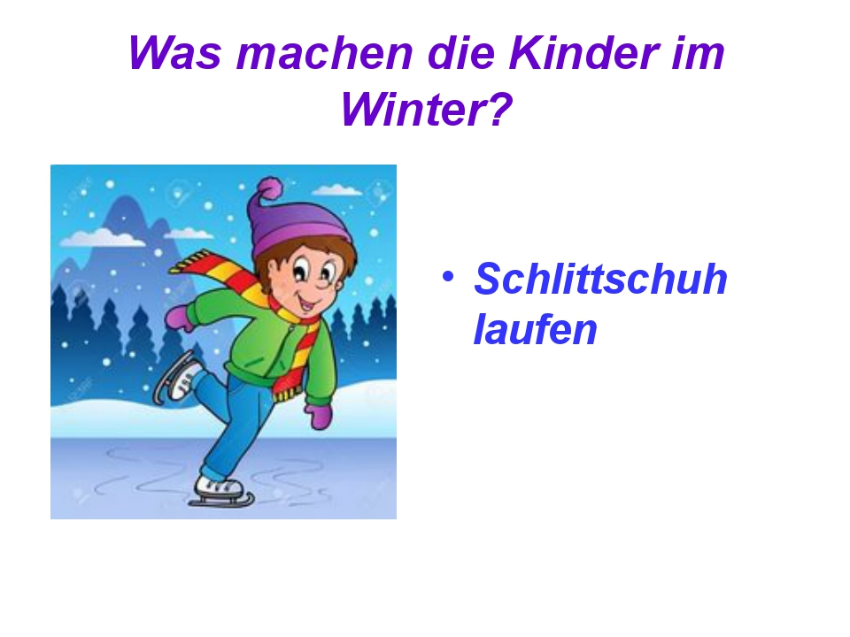 Was machen die Kinder im Winter? Schlittschuh laufen