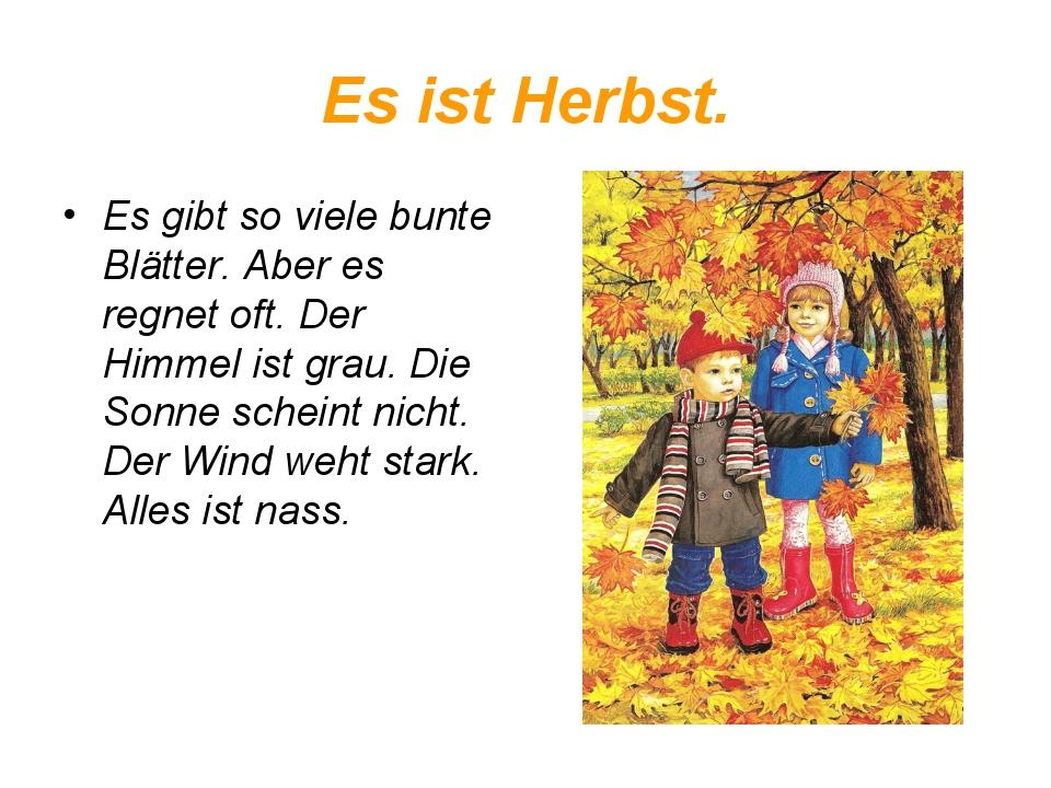 Es ist Herbst. Es gibt so viele bunte Blätter. Aber es regnet oft. Der Himmel...