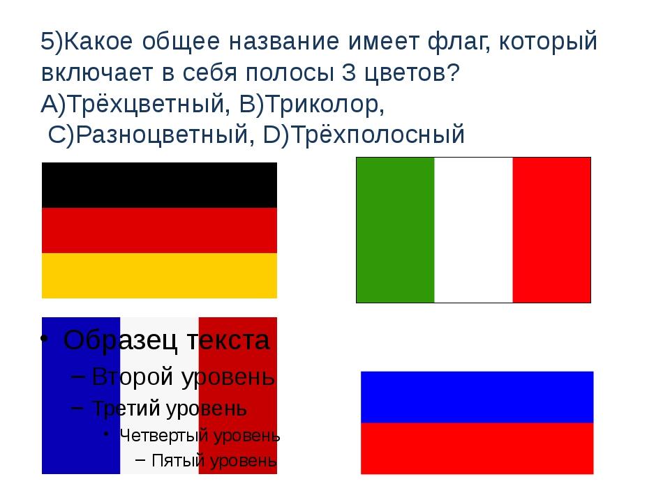 5)Какое общее название имеет флаг, который включает в себя полосы 3 цветов? A...