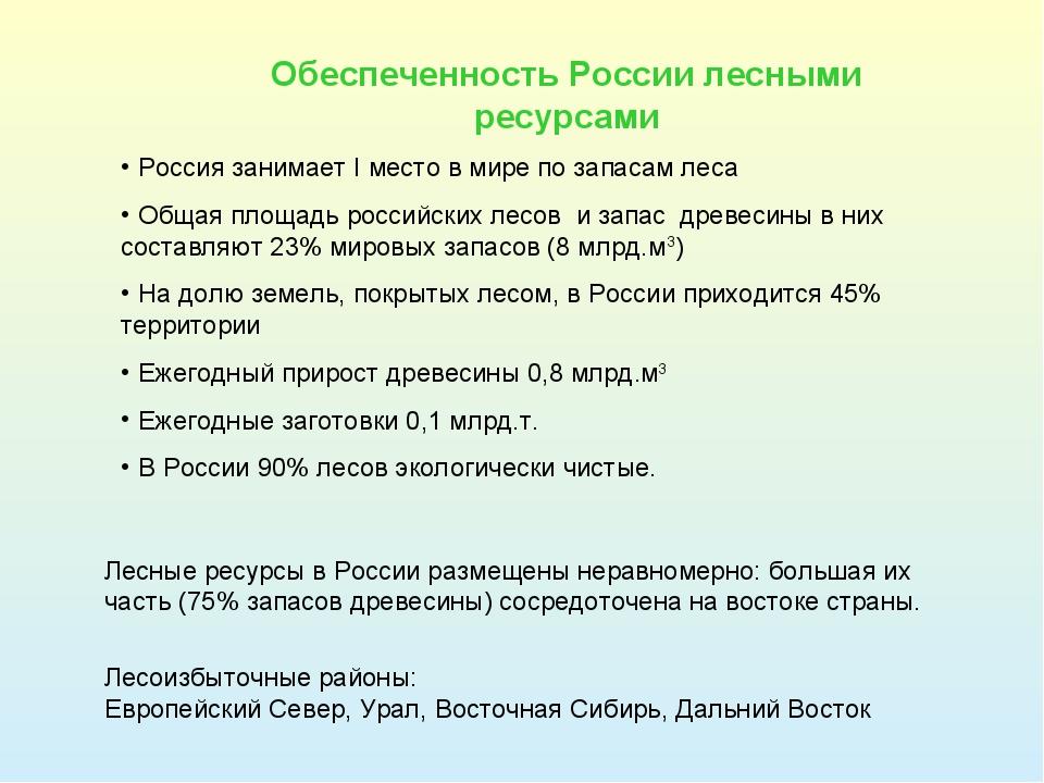 Леса россии занимают площадь