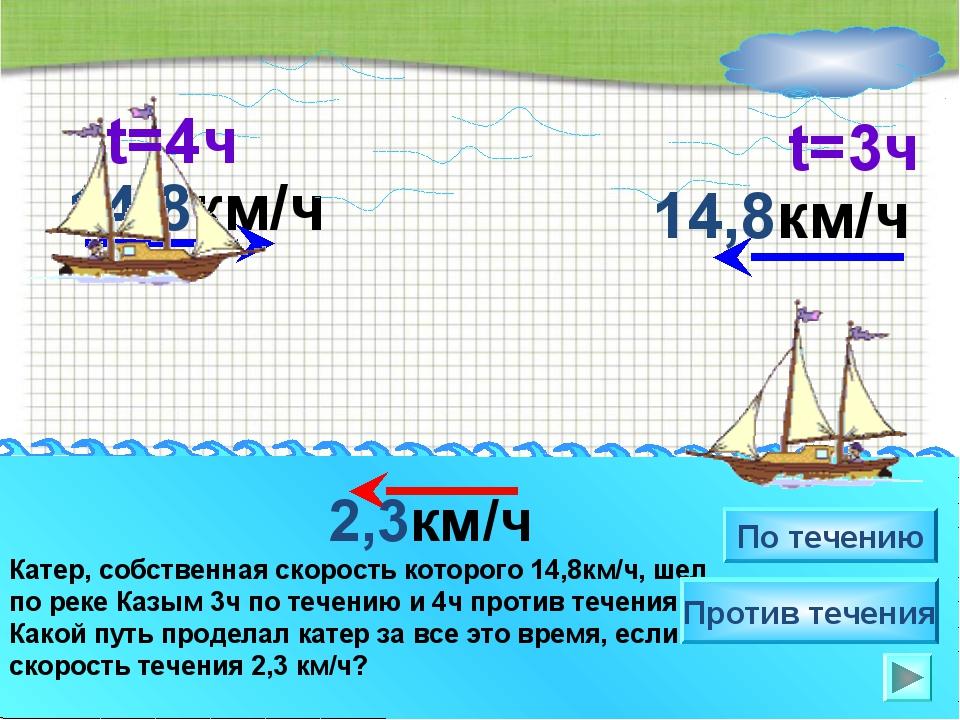 14,8км/ч Катер, собственная скорость которого 14,8км/ч, шел по реке Казым 3ч...