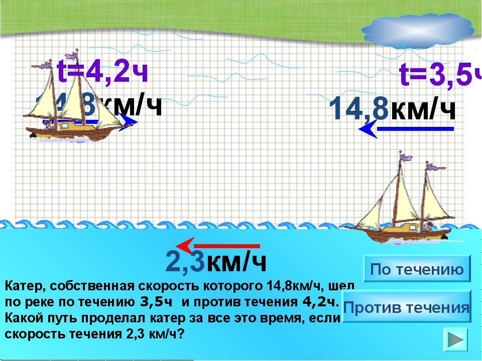 14,8км/ч Катер, собственная скорость которого 14,8км/ч, шел по реке по течени...