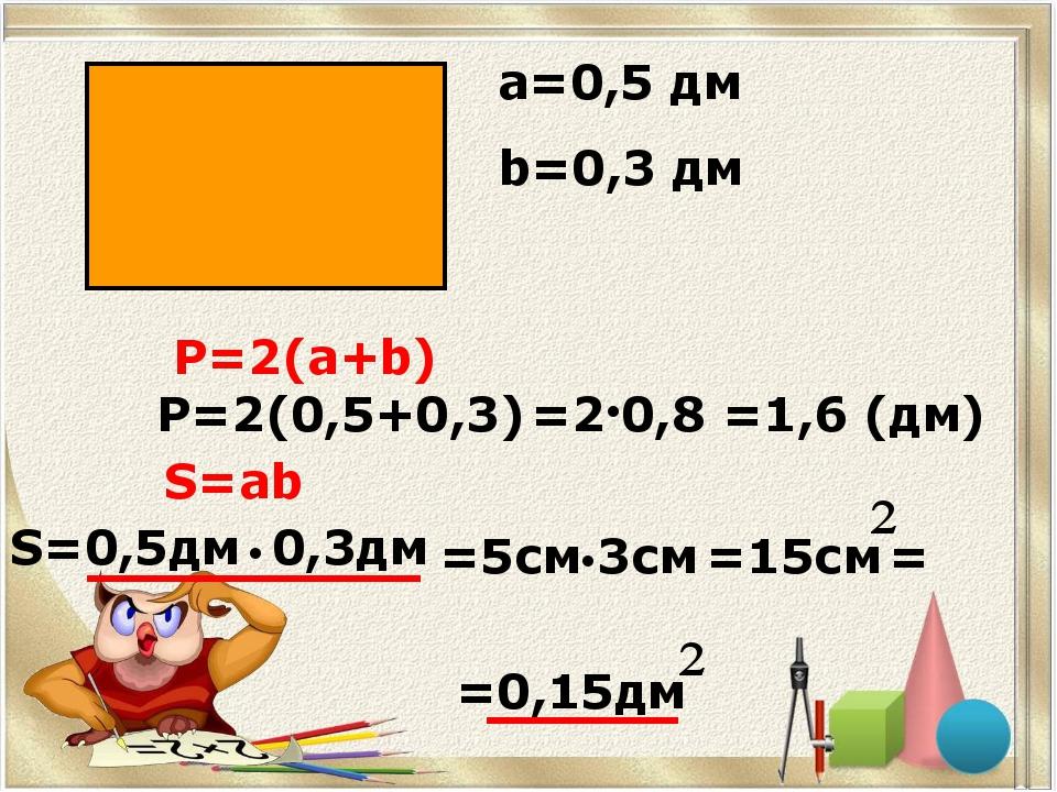 а=0,5 дм b=0,3 дм Р=2(а+b) Р=2(0,5+0,3) S=ab S=0,5дм 0,3дм ● ● =2 0,8 =1,6 (д...
