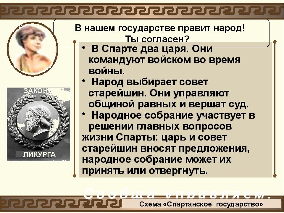 В Спарте два царя. Они командуют войском во время войны. Народ выбирает сове...