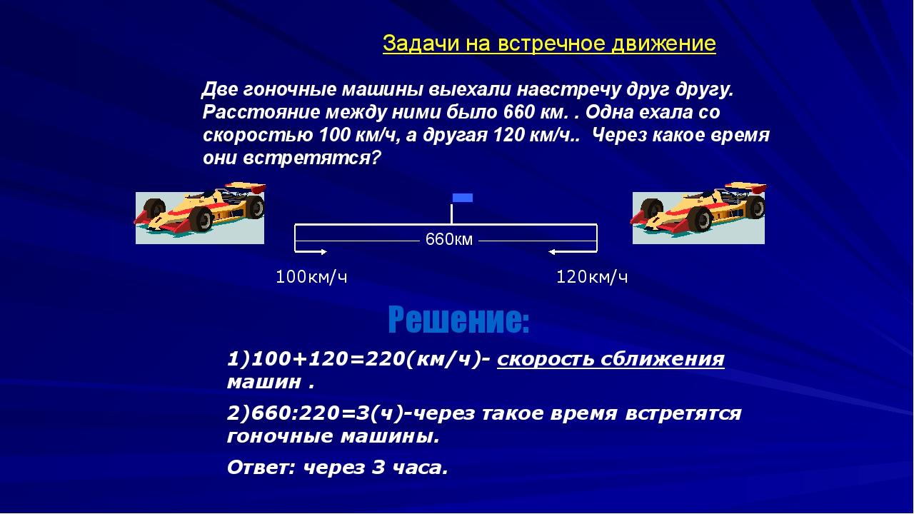 100км/ч 120км/ч 1)100+120=220(км/ч)- скорость сближения машин . 2)660:220=3(...