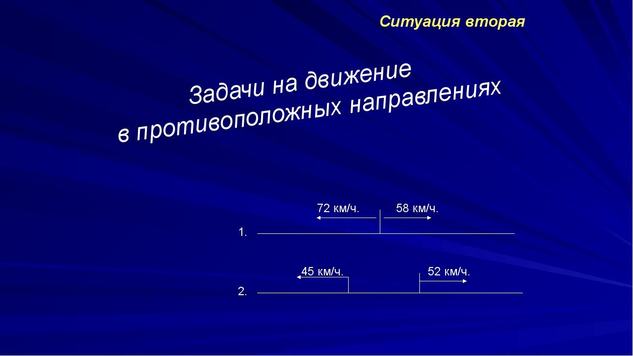 Ситуация вторая Задачи на движение в противоположных направлениях 1. 2. 72 к...