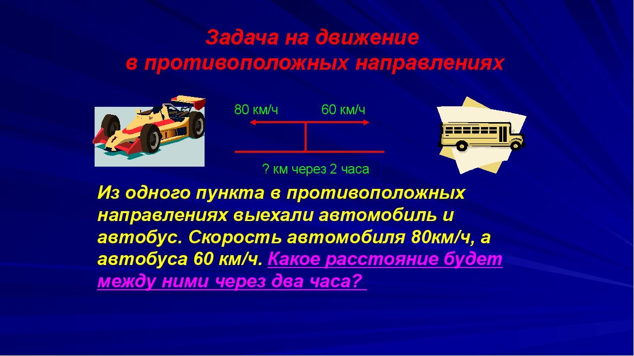 Задача на движение в противоположных направлениях 80 км/ч 60 км/ч Из одного...
