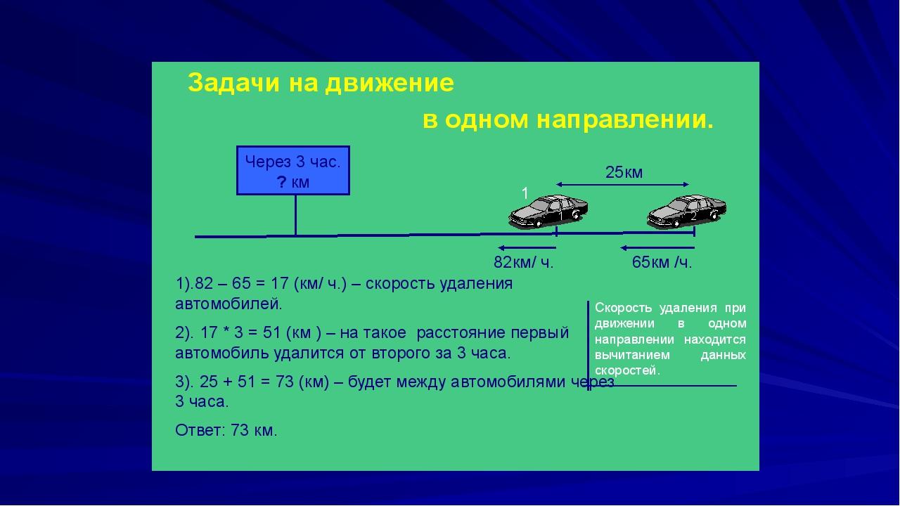 Задачи на движение в одном направлении. 65км /ч. 82км/ ч. 25км Через 3 час....