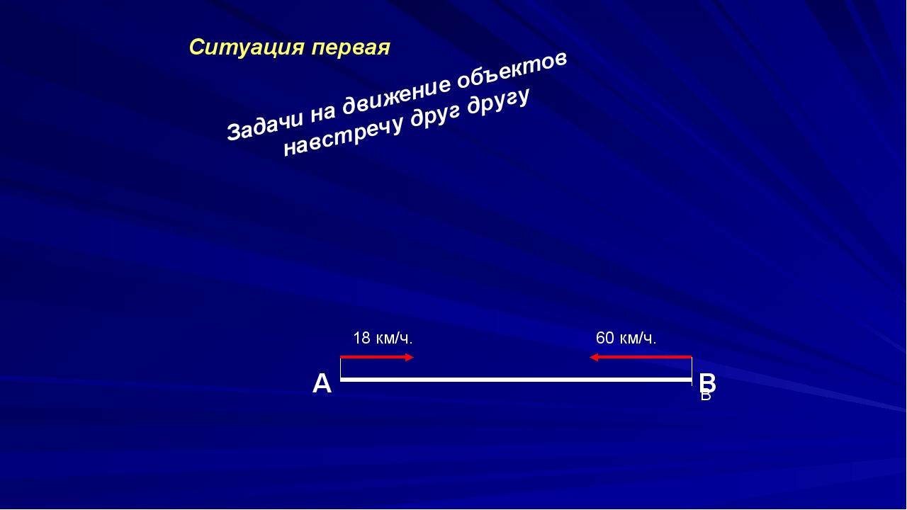 Задачи на движение объектов навстречу друг другу Ситуация первая А В В 18 км...