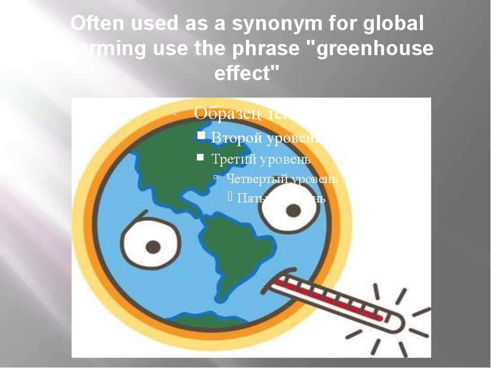 "Often used as a synonym for global warming use the phrase ""greenhouse effect"""