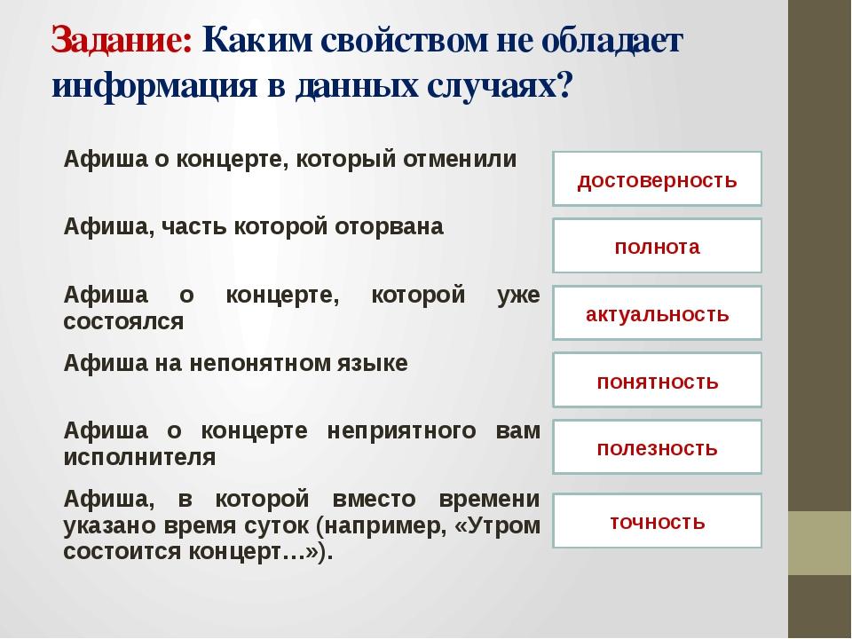 Задание: Каким свойством не обладает информация в данных случаях? достовернос...