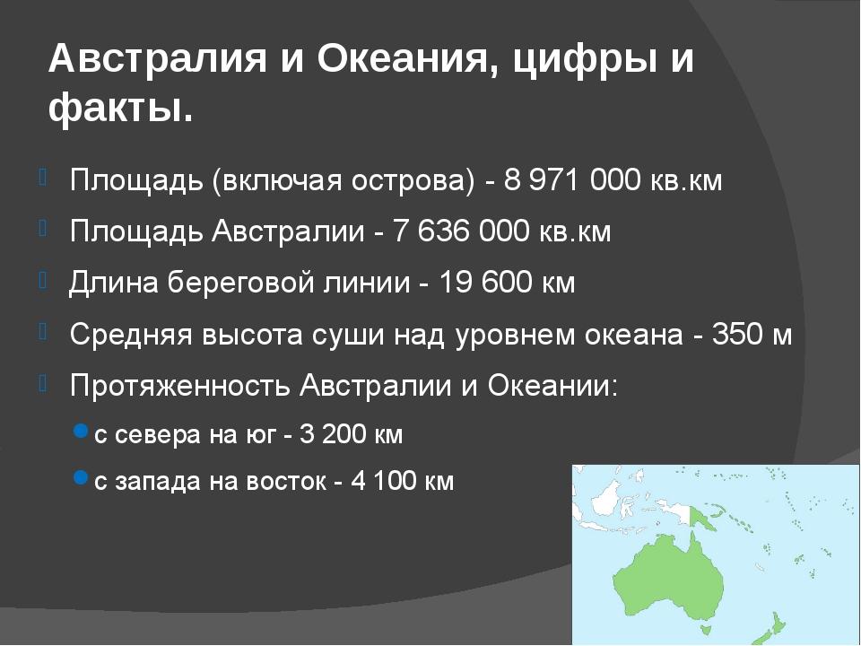 Австралия и Океания, цифры и факты. Площадь (включая острова) - 8 971 000 кв....