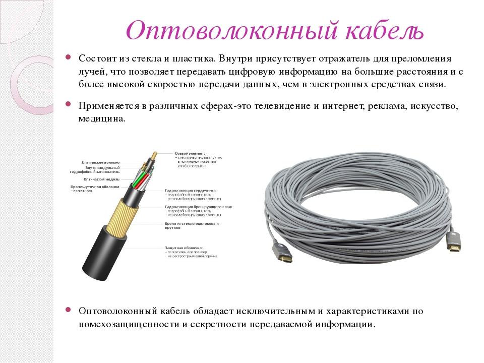 Оптоволоконный кабель Состоит из стекла и пластика. Внутри присутствует отраж...