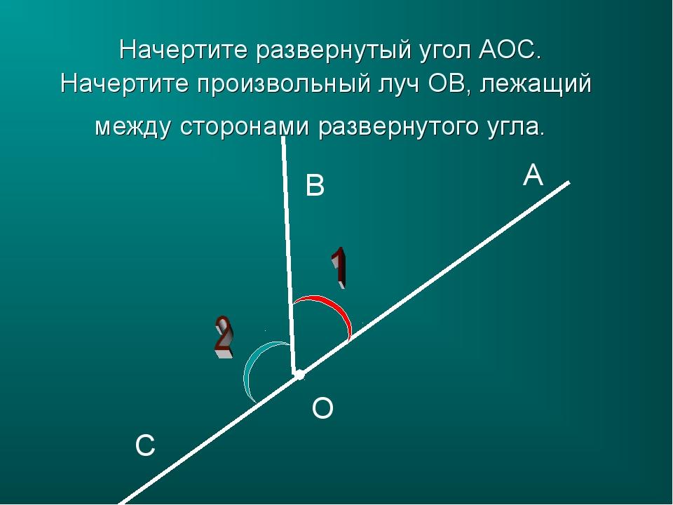 A B C O Начертите развернутый угол АОС. Начертите произвольный луч ОB, лежащи...